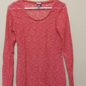 Large Vanity Long Sleeve Lace Top